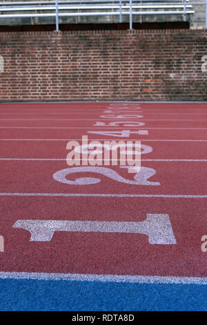 Track and Field Race Course lane numbers - Stock Photo