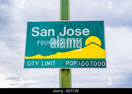 Updated San Jose, California city limit sign indicating population of over one million and founding year 1777 - Stock Photo