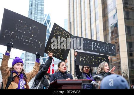 New York, New York, USA. 19th Jan, 2019. Alexandria Ocasio-Cortez participate in the Women's March in Columbus Circle in New York City. Credit: William Volcov/ZUMA Wire/Alamy Live News - Stock Photo