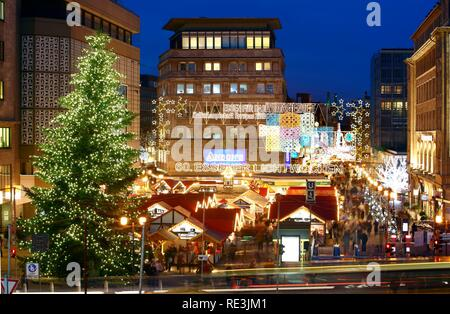 Christmas Market and 60th Essen Light Weeks, logo of the European Capital of Culture for 2010, and other lights motifs, - Stock Photo