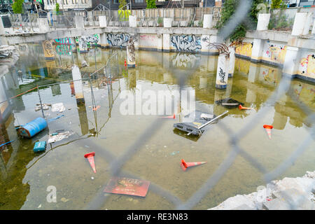 CHRISTCHURCH NEW ZEALAND OCTOBER 10 2018; Deserted remains of commercial building foundations flooded left for reconstruction in Christchurch after th - Stock Photo