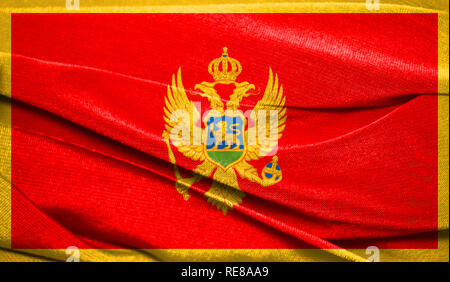 Realistic flag of Montenegro on the wavy surface of fabric. Perfect for background or texture purposes. - Stock Photo