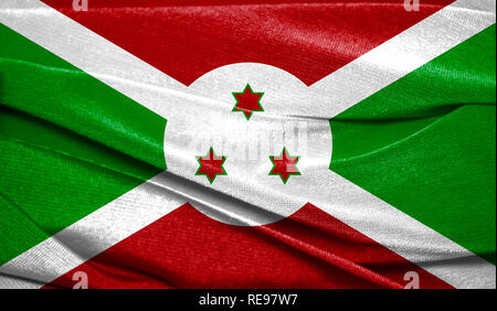Realistic flag of Burundi on the wavy surface of fabric. Perfect for background or texture purposes. - Stock Photo