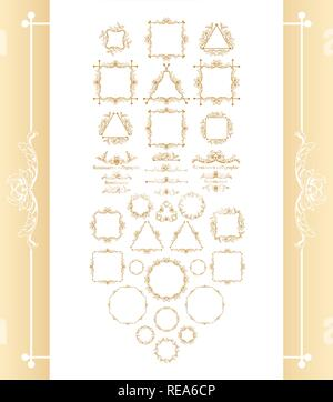 Vintage syle calligraphic set of borders, underscores, scrolling elements, ornate headpiece, page decor, dividers, book design and christmas style decorative frames with ornaments. Square, circle, triangle shapes. - Stock Photo