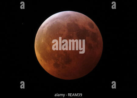 Lanham, MD, USA. 21st Jan, 2019. The so-called super wolf moon seen completely within Earth's umbra, the blood moon eclipse having reached totality. The reddish hue to the moon's coloring is the source of it being referred to as a blood moon. This full moon is referred to as a ''supermoon'' due to its larger apparent size as a result of it taking place near the moon's closest position to Earth, known as its perigee. It is referred to as a ''wolf'' moon because it is the first full moon in January. Credit: Evan Golub/ZUMA Wire/Alamy Live News - Stock Photo
