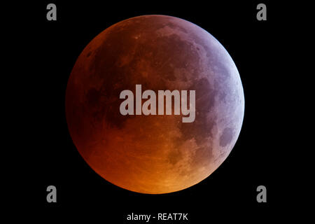 Devil's Dyke, West Sussex, UK, 21st January, 2019. Total eclipse of the Moon of 21 January 2019 at 04:53 am, photographed from Devil's Dyke, West Sussex, UK. Credit Jamie Cooper/Galaxy Credit: Galaxy Picture Library/Alamy Live News - Stock Photo