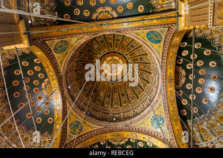 Inside of the dome of the Great Mosque of Muhammad Ali Pasha within the walls of the Saladin Citadel, a medieval Islamic fortification, Cairo, Egypt - Stock Photo