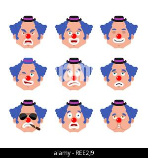 Clown face set. sleeping and evil emotion avatar. bewildered and sad funnyman emoji. harlequin fear and happy icon. serious and winks - Stock Photo