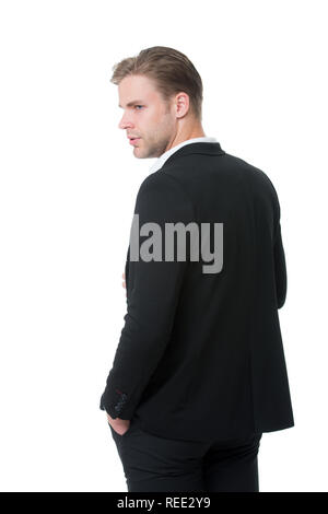 His style classic. Man well groomed in formal outfit rear view isolated white. Business dress code means for men suit. Business dress code. Businessman gentleman dressed classic professional attire. - Stock Photo