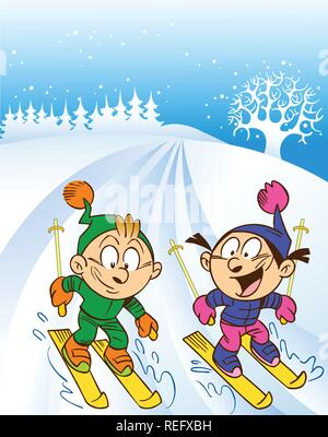 The illustration shows a children skiing. Children skiing from the mountain. Illustration done in cartoon style, on separate layers. - Stock Photo