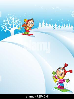 The illustration shows children skiing down the hills in the winter. In the background snowy hill and trees. Illustration done in cartoon style. - Stock Photo