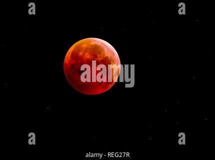 Barcelona. Spain. 21st January 2019.  Lunar eclipseTotal Lunar Eclipse of a Super Full Moon over Penedès,Barcelona. Credit: rosdemora/Alamy Live News - Stock Photo