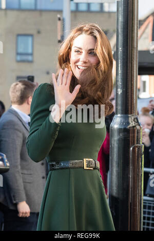 London, UK. 22nd Jan 2019. HRH The Duchess of Cambridge arrives at Family Action Lewisham base to launch their new service 'FamilyLine' uses a network of volunteers from across the country to support parents and carers virtually through telephone calls, email and text messaging. Credit: amanda rose/Alamy Live News - Stock Photo