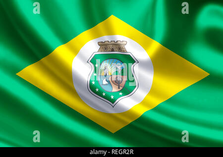 Ceara waving and closeup flag illustration. Perfect for background or texture purposes. - Stock Photo