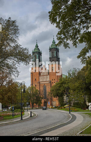 Poznan, Poland - August 29, 2006: View to Archcathedral Basilica of St. Peter and St. Paul on Tumski island. It is one of the oldest churches in Polan - Stock Photo