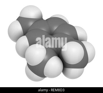 Pseudocumene (1,2,4-trimethylbenzene) aromatic hydrocarbon molecule. Occurs in naturally in coal tar and petroleum. 3D rendering. Atoms are represente - Stock Photo