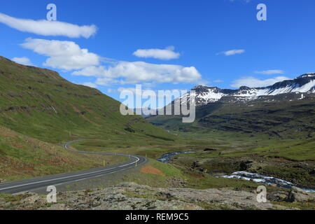 Highway to eastfjords in Iceland - Stock Photo