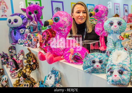 London, UK. 22nd Jan 2019. Sequinned Flippables on the TY stand - The Toy Fair at Olympia in London. Credit: Guy Bell/Alamy Live News - Stock Photo