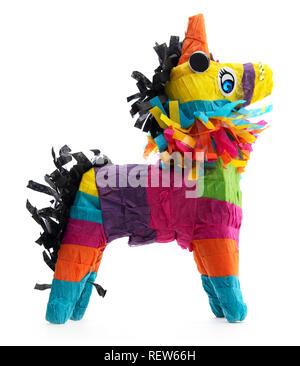 Isolated Mexican burro donkey piñata. Side view of colorful Mexican donkey piñata on a white background. - Stock Photo