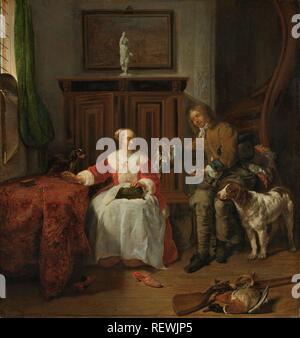 The Hunter's Present. Het geschenk van de jager. Dating: c. 1658 - c. 1661. Measurements: h 51 cm × w 48 cm. Museum: Rijksmuseum, Amsterdam. Author: GABRIEL METSU. - Stock Photo