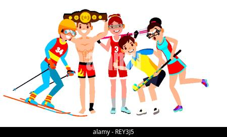 Athlete Set Vector. Man, Woman. Skiing, Boxing, Lacrosse, Table Tennis, Field Hockey. Group Of Sports People In Uniform, Apparel. Sportsman Character In Game Action. Flat Cartoon Illustration - Stock Photo