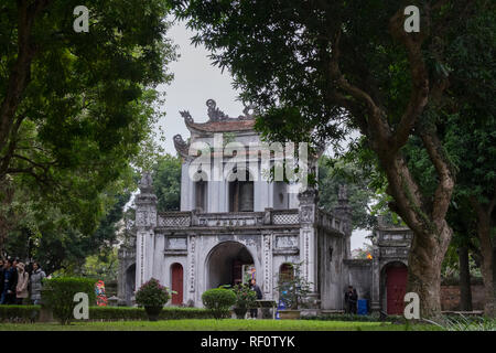 Looking at the back of the entrance gate at the Temple of Literature in Hanoi, Vietnam. - Stock Photo