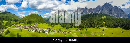 Italian Dolomites aerial panorama around Sappada - Stock Photo