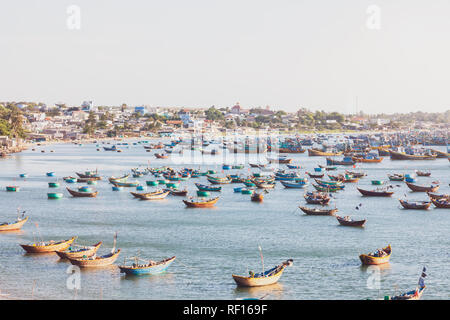 Vietnam, Mui Ne, fishing village, fishing boats - Stock Photo