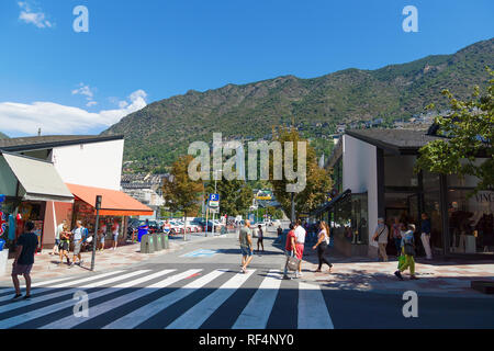 Andorra la Vella, Andorra - August 14, 2017: Andorra is the country with the smallest trade taxes. It is a tourist and commercial center of Europe. - Stock Photo
