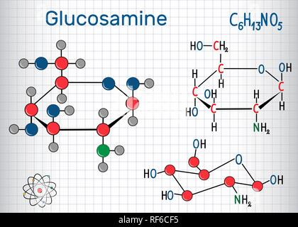 Glucosamine molecule, is one of the most abundant monosaccharides, is dietary supplement. Structural chemical formula and molecule model. Sheet of pap - Stock Photo
