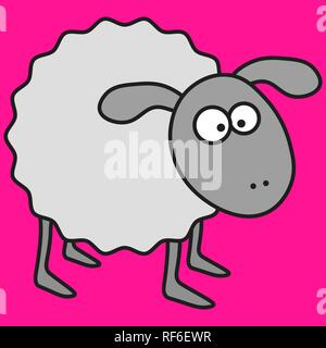 Sheep in cartoon style. On color background, vector illustration - Stock Photo