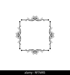 Floral vintage decorative vector frame. Flower black ink Square filigree border with text space. Isolated calligraphic frame with copyspace. Invitation, greeting card, poster flourish design element - Stock Photo