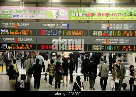 Tokyo Station: subway, regional and long-distance trains and the Shinkansen high-speed trains, Tokyo, Japan, Asia - Stock Photo