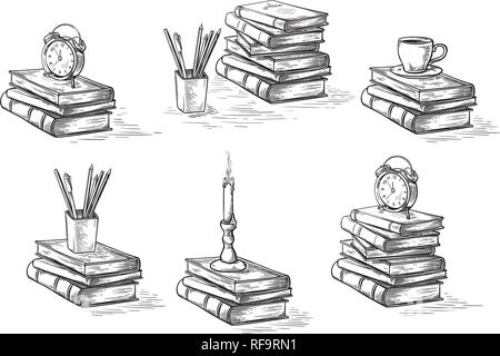 hand drawn sketch stack books set clock pen and candle isolated on white background vector illustration. - Stock Photo