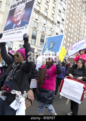 Hundreds of thousands of New Yorkers attended the Women's March in New York City on the one year anniversary of Donald Trump's innauguration, Jan.20,  - Stock Photo