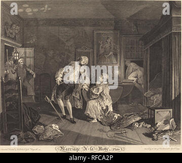 Marriage a la Mode: pl.5. Dated: 1745. Medium: etching and engraving. Museum: National Gallery of Art, Washington DC. Author: Simon Francois Ravenet I after William Hogarth. after William Hogarth. William Hogarth. SIMON FRANCIS RAVENET. - Stock Photo