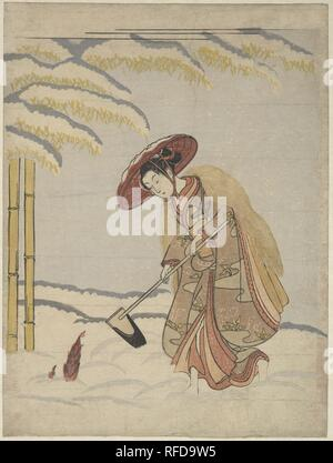 Woman Digging Bamboo Shoots in the Snow, or Parody of Meng Zong (Moso), from Twenty-Four Paragons of Filial Piety. Artist: Suzuki Harunobu (Japanese, 1725-1770). Culture: Japan. Dimensions: H. 11 1/8 in. (28.3 cm); W. 8 3/8 in. (21.3 cm)  medium-size print (chuban). Date: ca. 1765.  Harunobu treated a popular paragon theme with great innovation here, applying the playfully subversive spirit of ukiyo-e to the story of Meng Zong (J.: Moso), a boy whose filial piety prompted heaven to cause the sprouting of spring bamboo shoots in the dead of winter for his ill mother. The story is incorporated i - Stock Photo