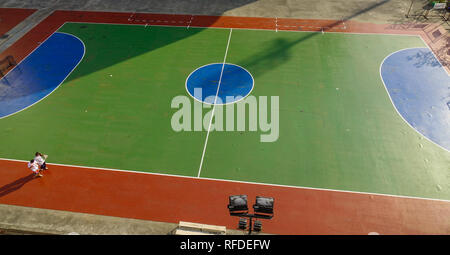 Bangkok, Thailand - Dec 25, 2018. Top aerial view of opened stadium in Bangkok, Thailand. Bangkok is the capital and most populous city of Thailand. - Stock Photo