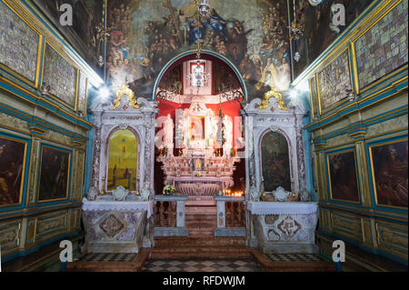 Church on the artificial island Our Lady of the Rocks, Interior, Madonna icon with the Child, Kotor Bay, Perast, Montenegro - Stock Photo