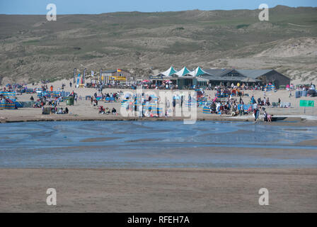 Perranporth Beach, The Watering Hole Pub. - Stock Photo