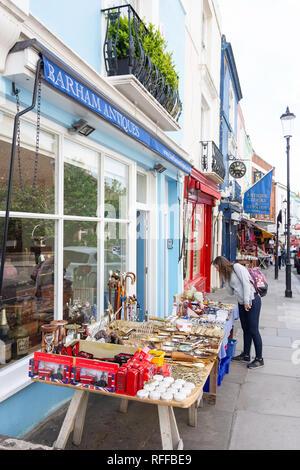 Antique shop display, Portobello Road, Notting Hill, Royal Borough of Kensington and Chelsea, Greater London, England, United Kingdom - Stock Photo