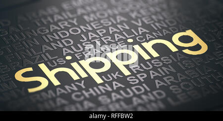 Words cloud over black background with the text shipping witten in golden letters. International shipping service concept. 3D illustration - Stock Photo