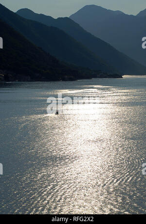 Sunset in the bay of Kotor, Montenegro - Stock Photo