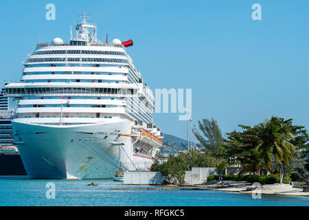 Montego Bay, Jamaica - January 09 2019: Carnival Dream Cruise Ship docked at the Montego Bay Cruise Port Terminal in Freeport - Stock Photo