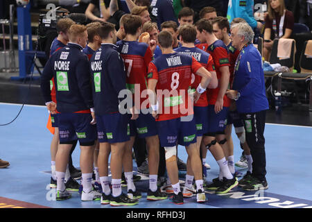 Hamburg, Germany. 25th January 2019. Team Norway during the IHF Men's World Championship 2019, semi final handball match between Germany and Norway on January 25, 2019 at Barclaycard Arena in Hamburg, Germany - Photo Laurent Lairys / MAXPPP Credit: Laurent Lairys/Agence Locevaphotos/Alamy Live News - Stock Photo