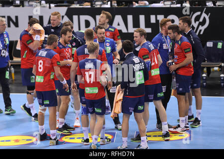 Hamburg, Germany. 25th January 2019. Team Norway during the IHF Men's World Championship 2019, semi final handball match between Germany and Norway on January 25, 2019 at Barclaycard Arena in Hamburg, Germany - Photo Laurent Lairys /MAXPPP Credit: Laurent Lairys/Agence Locevaphotos/Alamy Live News - Stock Photo
