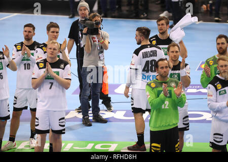 Hamburg, Germany. 25th January 2019. Team Germany during the IHF Men's World Championship 2019, semi final handball match between Germany and Norway on January 25, 2019 at Barclaycard Arena in Hamburg, Germany - Photo Laurent Lairys / MAXPPP Credit: Laurent Lairys/Agence Locevaphotos/Alamy Live News - Stock Photo