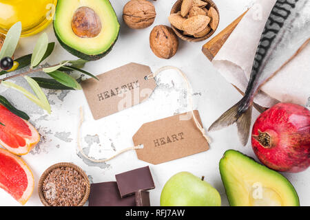 Selection of food for healthy heart - Stock Photo