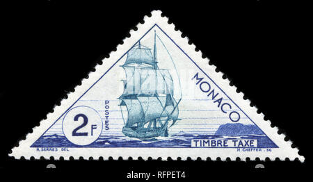Postage stamp from Monaco in the Means of transport series issued in 1954 - Stock Photo