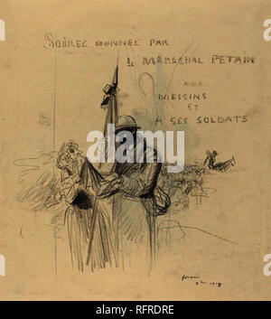 Le Baiser du Drapeau. Dated: 1918. Dimensions: overall: 53 x 39.4 cm (20 7/8 x 15 1/2 in.). Medium: black crayon on laid paper. Museum: National Gallery of Art, Washington DC. Author: FORAIN, JEAN LOUIS. - Stock Photo